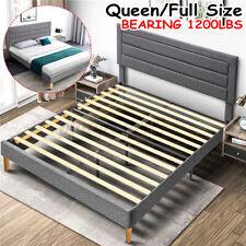 Adjustable Queen Size Platform Bed Frame With Headboard &Footboard Wood Frames