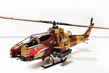 Handmade 1960's Bell Ah-1G Cobra Helicopter Tinplate Antique Style Metal Model