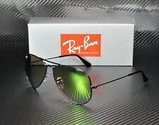 RAY BAN RB3025 002 4J Aviator Shiny Black Mir Grad Green 58 mm Men's Sunglasses