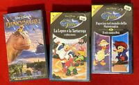 LE FIABE + DINOSAURI in 3 videocassette VHS di WALT DISNEY, NUOVE