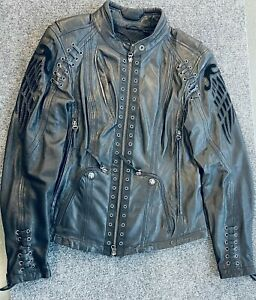 """Harley Davidson """"DESTITUTE""""  Leather Jacket Sz-S Embellished Grommets 97090-16VW"""