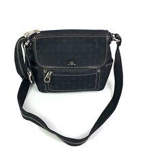 Fossil Signature Crossbody Bag Black Canvas Marlow Handbag Purse Key Fob