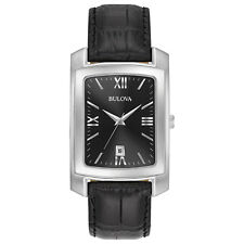 Bulova Classic Men's 96B269 Quartz Black Dial Leather Band 47mm Watch