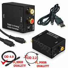 Digital Optical Toslink Coax to Analog L/R RCA Audio Converter Adapter +Cable LS