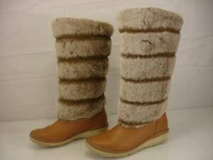 Women's 6 M Timberland Kickadilla Tan Leather Faux Fur Tall Boots Mukluk Winter