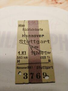 Rückfahrkarte  1.Klasse 1967 Hannover