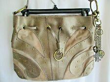 "Kathy Van Zeeland Large 15"" Satchel Handbag Purse Pebbled Metallic Gold Charms"