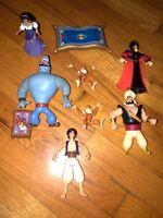 Vintage Walt Disney World Aladdin Mattel Figures Lot Jafar Abu Genie Carpet