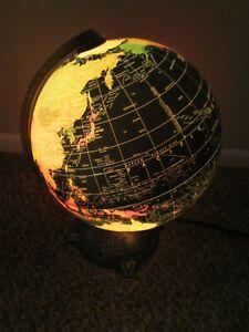 "Vintage Electric 12"" Replogle Starlight Series World Globe Lamp"