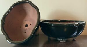 """NEW ITEM! 8"""" Deep Glazed Ceramic Bonsai Pot. Choose from several styles and colo"""