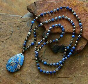 Beautiful Natural Beaded Lapis Lazuli & Pyrite Teardrop Necklace Boho Mala Yoga