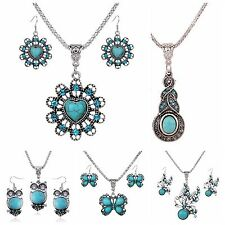 Womens Cute Retro Ethnic Animal Turquoise Necklace Pendant Earrings Jewelry Sets