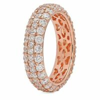 Diamond Pave Eternity Ring Dome Band 14K Rose Gold Wedding Engagement Natural