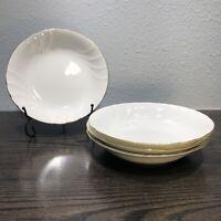 "Mikasa Fine China Wedding Band 7 3/4"" Salad Bowl Gold Edged Set Of 4  L9709"
