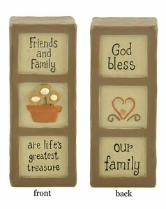 God Bless Our Family & Friends & Family Life's Greatest Treasure Resin Block