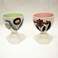 Vintage Mid Century Modern Double Egg Cups Japan Floral Set Pink Floral Painted