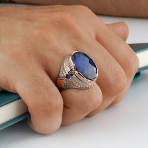 STERLING 925 SILVER HANDMADE JEWELRY SUPERIOR FACATED BLUE SAPPHIRE MEN'S RING