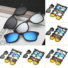 Magnetic Spectacle Rx Glasses Frame With 5 Pieces Polarized Sunglasses Clip-on