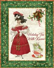 Christmas 8 holiday Jane Austen tea invitation personalized with red envelopes