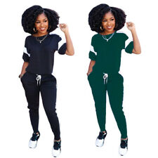 Women Casual Short Sleeves Street Style Colors Splicing Jumpsuits Tracksuits 2pc