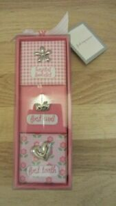 3) Pink First Impressions / Keepsake Boxes: Hospital Bracelet, First Tooth, Curl
