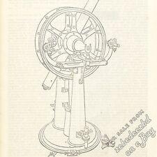 Altazimuth Mount Telescope: antique 1837 engraving print - engineering astronomy
