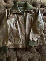 Womens XL Brown Leather Bomber Jacket Eddie Bauer Excellent W10
