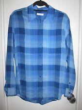 NWT Equipment 100% Silk S Signature Blouse Lapis Blue Plaid Shirt Tunic $268