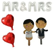 """MR & MRS 16"""" silver foil balloons + bride and groom + 2 x red hearts wedding"""