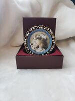 Taylor Avedon collectible Enamel Crystals Round picture Frame Blue Beaded new