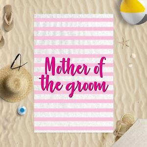"""58 x 39"""" Beach Towel Mother Of The Groom Pink Striped Design Microfibre Wedding"""