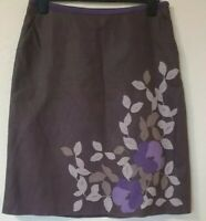 Laura Ashley Linen Blend Lined Floral Print A Line Knee Length Skirt Size 14