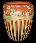 "Roseville Cherry Blossom Brown with Cream Lattice Decoration 7 1/8"" Vase"
