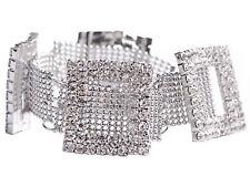 Fashion Silver Crystal Rhinestone Bling Clear Bracelet Bangle Lady Jewelry Gift