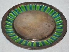 Ravissant Designer round dish plate  Sterling Silver Enamel vintage signed