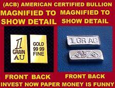 ACB INGOT GOLD & SILVER BULLION 1GRAIN BARS 999 FINE COMBO PACK Au & Ag COA +