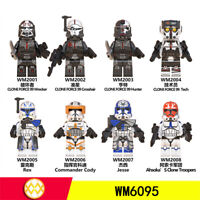 8 pcs Minifigures Star Wars Rex Fox Wolfpack StormTrooper & Weapons New Toys