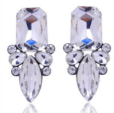 Fashion Women Jewelry Vintage Square Drop Rhinestone Crystal Ear Stud Earrings