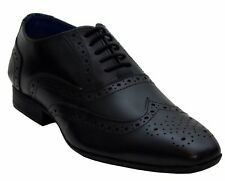 Route 21 Pierce Mens Breathable Leather Lace Smart Formal Oxford Brogues Black UK 9