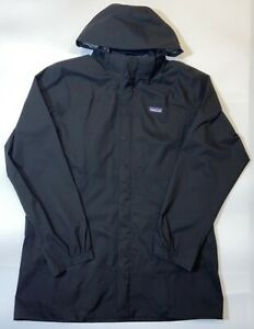 Patagonia  H2NO Black Rain Jacket Full Zip Men's Large Removable Hood Zip Pocket