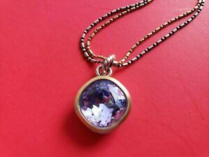 BRIGHTON Light Purple Crystal  Pendant Double Chain NECKLACE  16'' - 18''