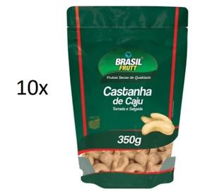 Lot of 10 Brazilian Salted Roasted Cashew Nut Snack Appetizer 350g Brasil Frutt