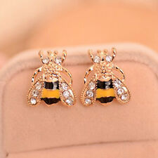 Cute Women Girl Trendy Golden Small Bee Crystal Stud Earrings Jewelry