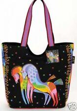 Laurel Burch Bright Colors Rainbow Horses Canvas Scoop Tote Black Handbag NWT