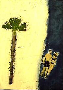 BEACH GETAWAY Raw Folk Art Brut Painting Outsider T. Marie Nolan Original Vision