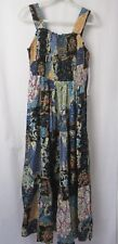 Lola P Maxi Dress Smocked Elastic Bodice Sleeveless Tiered Skirt Multi L #6979