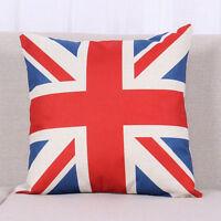 Vintage Pillow Case Cotton Linen USA England Flag Cushion Cover Home Cafe Decor