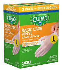 CURAD POWDER-FREE EXAM GLOVES VINYL 100 EACH (3 PACK) 300! LARGE NEW BASIC CARE!