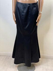 Debut Fishtail Skirt Goth Steampunk Black Satin Party Evening 14 UK