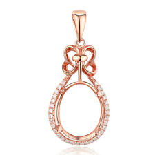 Oval 12x9mm Real Diamonds Semi Mount 14K Rose Gold Engagement Gorgeous Pendant